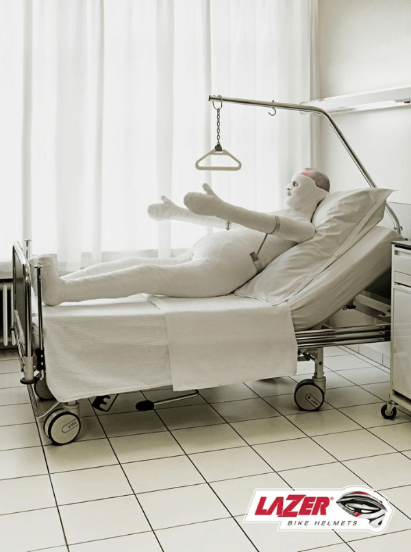 Man in full body cast in hospital for advertising campaign for Lazer