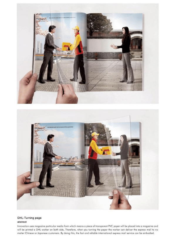 DHL print advertisement double spread within magazine