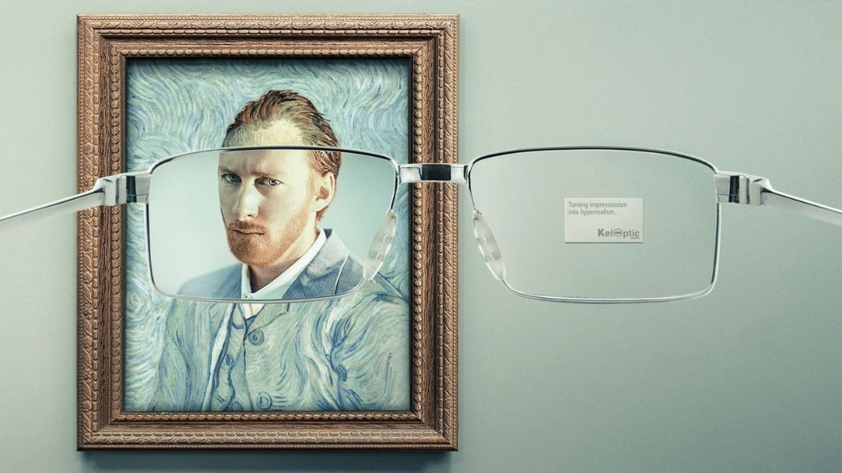 looking at vintage painting through clear spectacles for a clear view