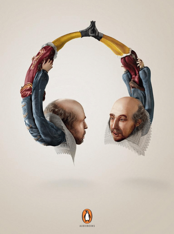 penguin books print ad with two bald men facing each other