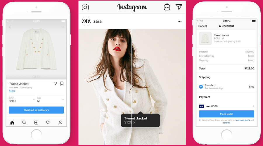 INSTAGRAM SHOPPING ADVERTISEMENT EXAMPLE FROM ZARA FEATURING A WHITE BUTTON UP JACKET