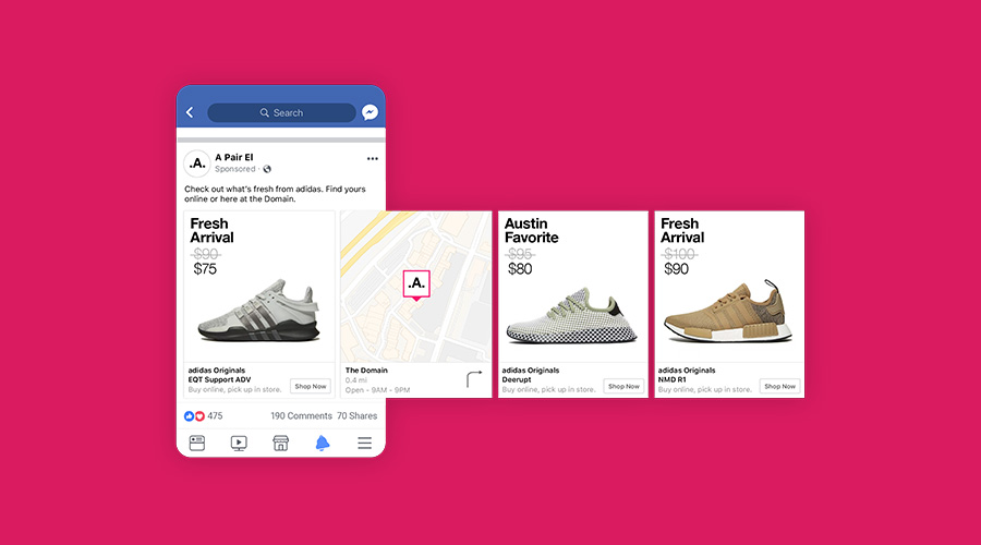 dynamic product ad on facebook about designer shoes
